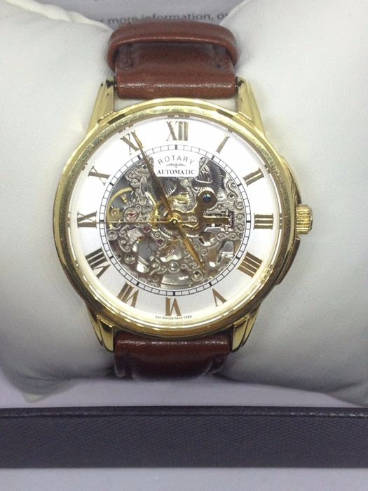 Rotary Mens Automatic Brown Leather Strap Skeleton Dial - Catawi