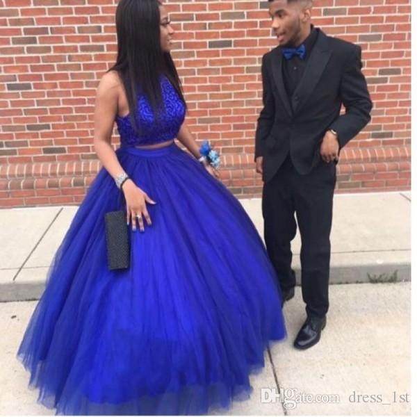 Elegant Royal Blue Prom Dress 2019 Sexy Two Pieces Halter Lace .