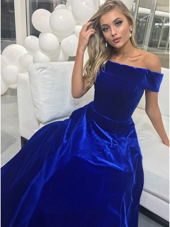 Buy Classic A-Line Off-the-Shoulder Floor-Length Royal Blue Prom .