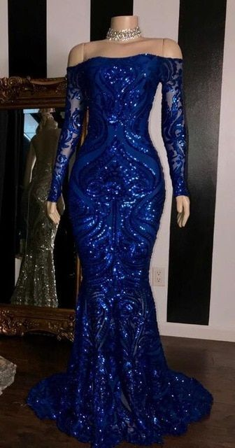 Sparkly Sequined Silver Mermaid African Prom Dresses Royal Blue .