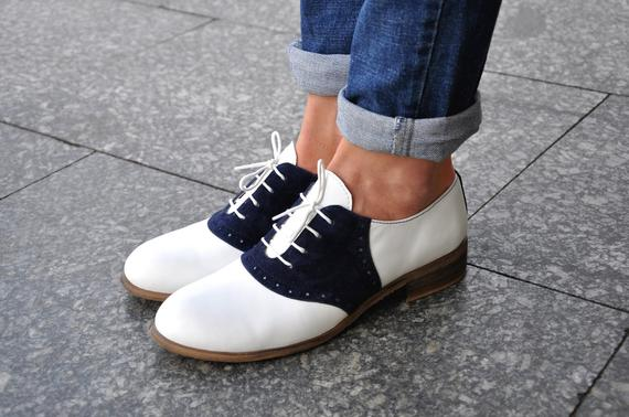 Saddle Womens Leather Oxfords Classic Handmade Shoes | Et