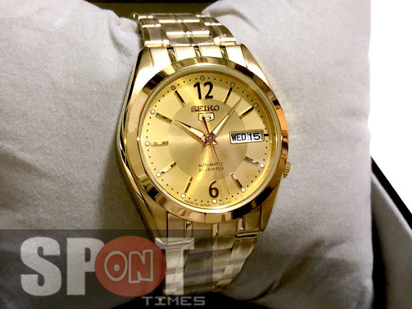 Seiko 5 Automatic 21 Jewels Gold Tone Men's Watch SNKH02J1 Made in .