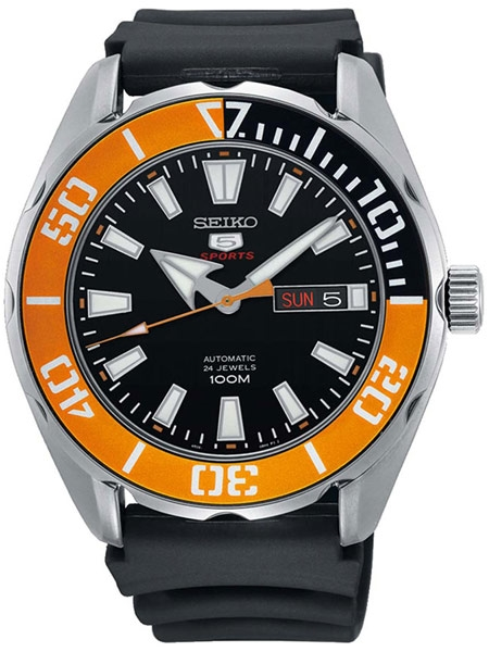 Seiko 5 Sports Automatic 24-Jewel Watch with Black Dial and Orange .