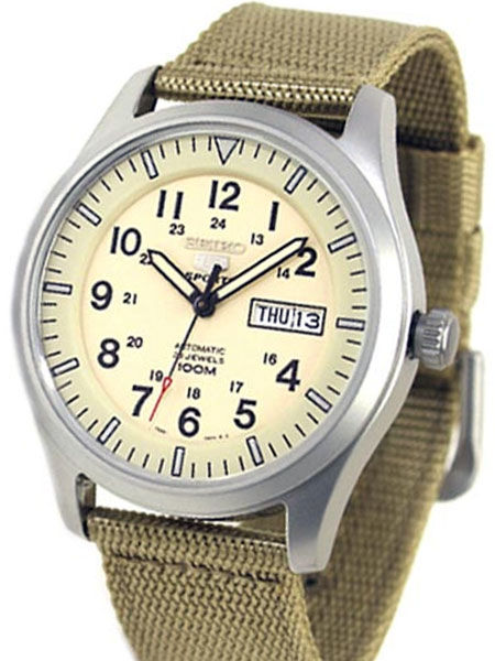 Seiko Military Creme Dial Automatic Watch with 42mm Case, Tan .