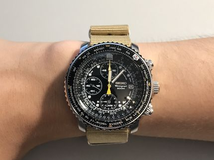 Seiko SNA411 Flightmaster with Sand Nato Strap Sale! Up to 75% OFF .