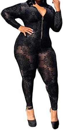 Amazon.com: Women's Sexy Plus Size See Through Jumpsuit Sheer Mesh .