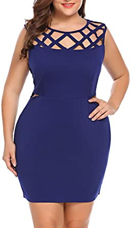 IN'VOLAND Women Plus Size Sexy Cut Out Sheath Cocktail Party Mini .