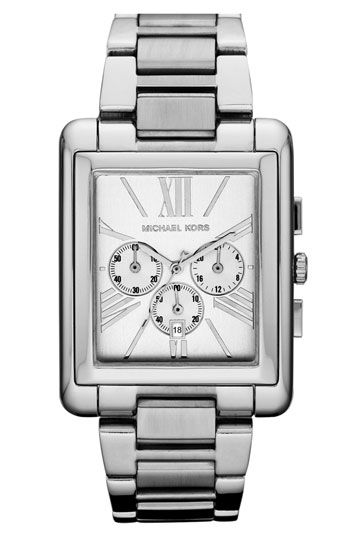 Looking for an oversize silver watch with a rectangular face .