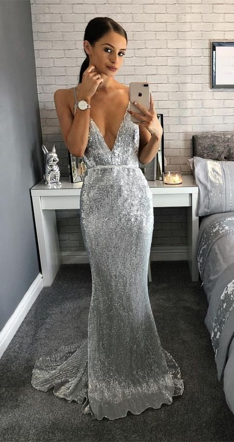 Mermaid V-Neck Sweep Train Backless Silver Sequined Prom Dress .