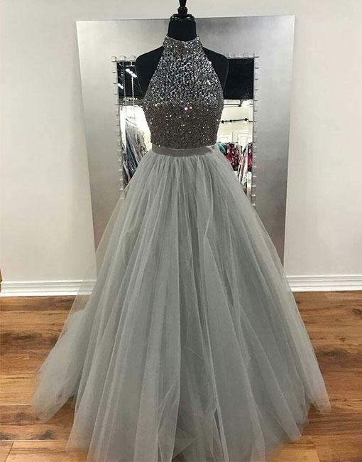 Gorgeous High Neck Silver Grey Beaded Prom Dress,Tulle Evening .