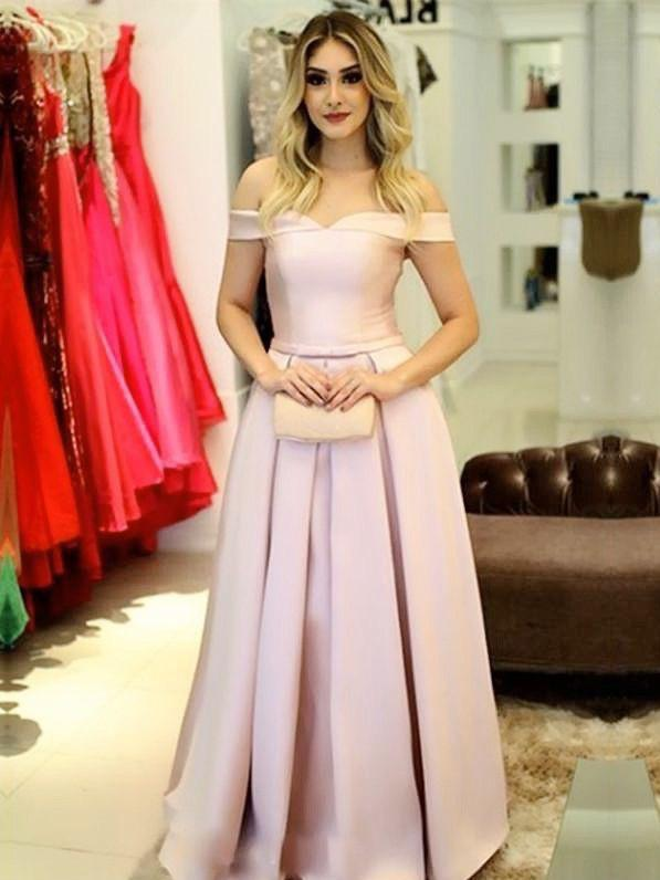 Pink Prom Dresses A-line Off-the-shoulder Simple Prom Dress .