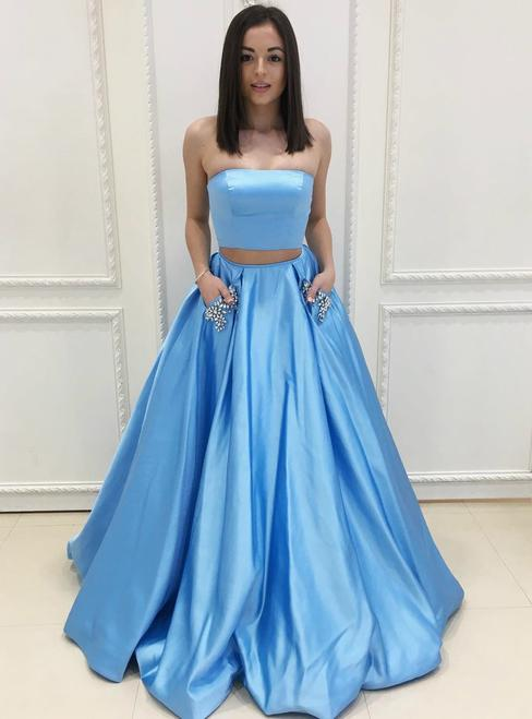 Chic 2 Pieces A-line Strapless Satin Simple Prom Dress Evening .