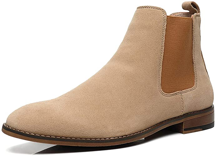 Amazon.com   Chelsea Slip-on Suede Boots for Men, Genuine Leather .