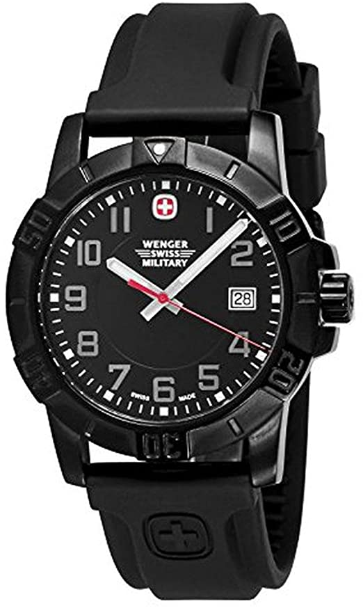 Amazon.com: Wenger Mens Sport 3 Swiss Military Watch, PVD, Rubber .
