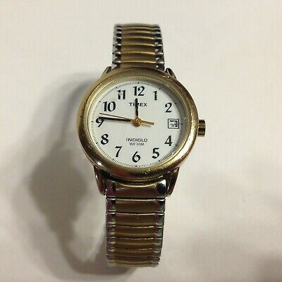 Timex Indiglo WR-10M 18K Gold Plated Date Womens Stretch Band .