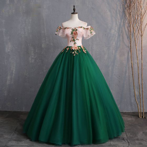 Vintage / Retro Dark Green Prom Dresses 2019 Ball Gown Appliques .