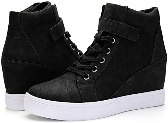 Amazon.com   XMWEALTHY Women's Casual Wedges Sneakers Lace Up Hook .