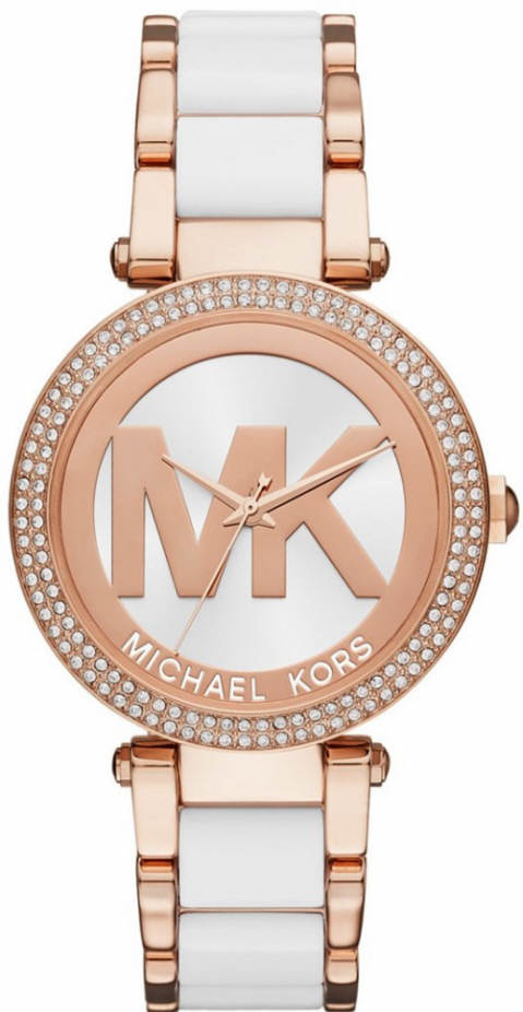 Women's Michael Kors Parker Rose And White Acetate Watch .