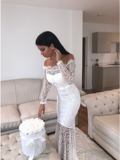 Mermaid Off-the-Shoulder Long Sleeves Floor-Length White Lace Prom .