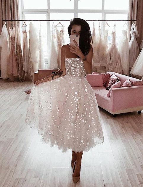 High Fashion White Prom Party Dresses Spaghetti Straps with .