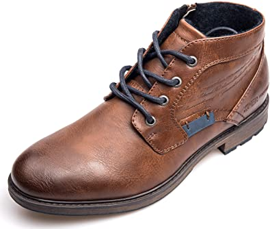 Amazon.com | XPER Boots for Men Motorcycle Combat Boots Brown .