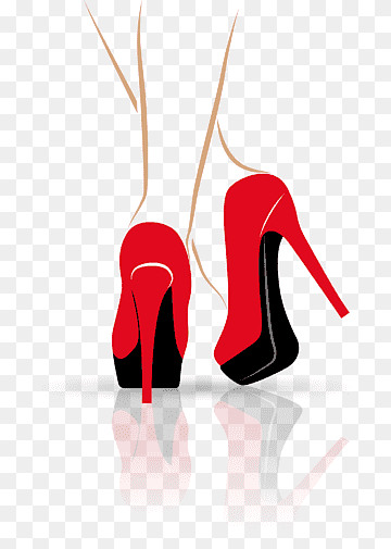 Pair of red leather platform heeled shoes, High-heeled footwear .