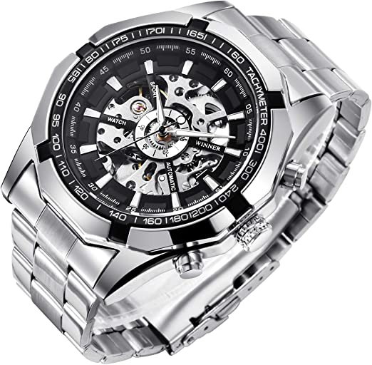 Amazon.com: Mens Watches, Mechanical Skeleton Stainless Steel .