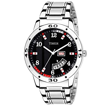 Buy Timer Fashionable Day and Date Wrist Watch Analog Dial Silver .