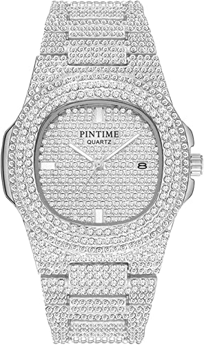 Amazon.com: Luxury Mens/Womens Unisex Crystal Watch Bling Iced-Out .