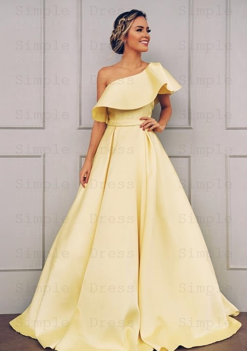 A-line One-Shoulder Short Sleeves Floor Length Yellow Satin Prom .